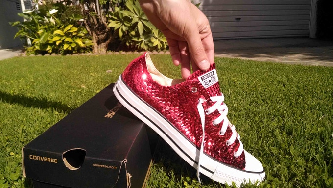 Hand-Sewn Sequin Ruby Sneakers