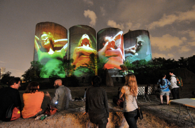 Luke Savisky, E/x installation in Houston, TX. Photo courtesy Aurora Picture Show. Savisky has his sites on the Gold Medal Silos for NS 2014.