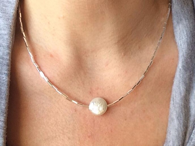 Oyster Level - Mother of Pearl Necklace by April DeMarco of Covet and Adorn