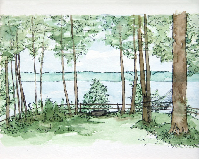 Original water-color prints of the Petoskey lake house by Carla Weeks.