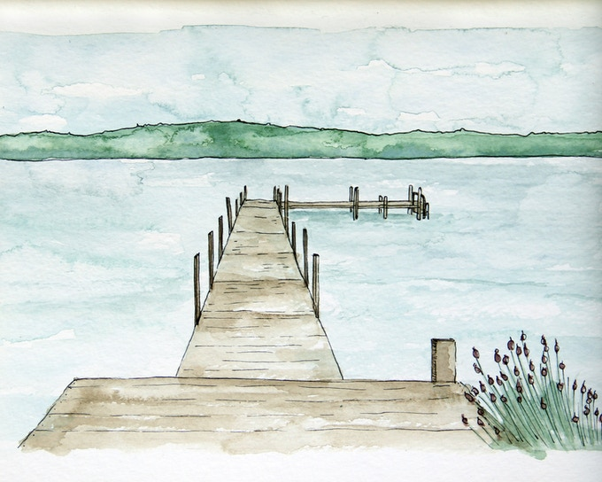 A Carla Weeks print of the lake house dock