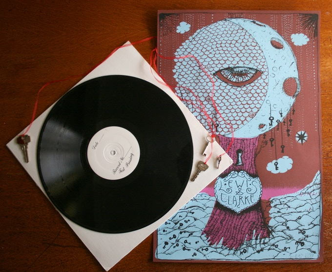 *vinyl test-pressing, keys, and hand-screened poster