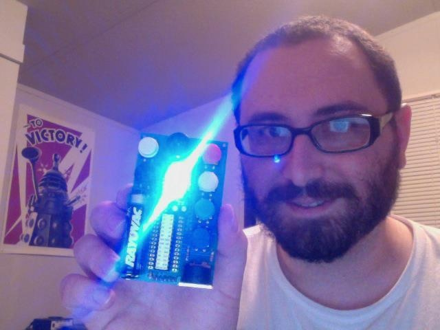 Peter holding the first AirHarp Lira prototype (sans case)