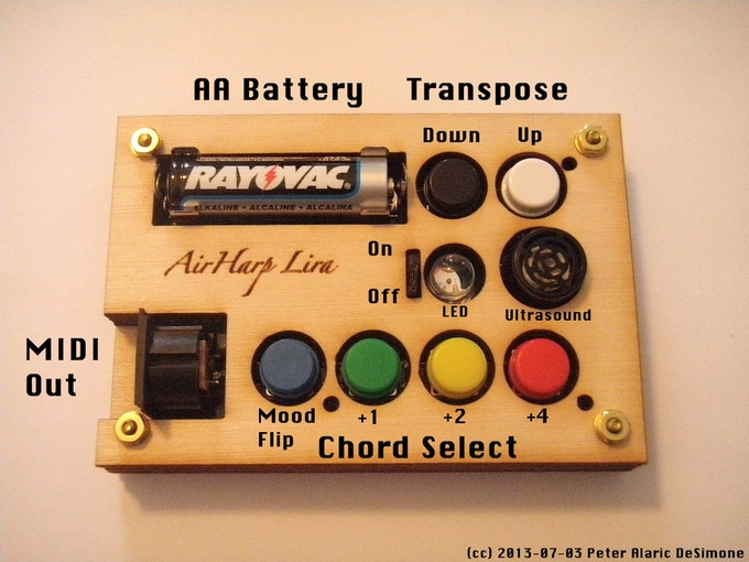 AirHarp Lira button layout