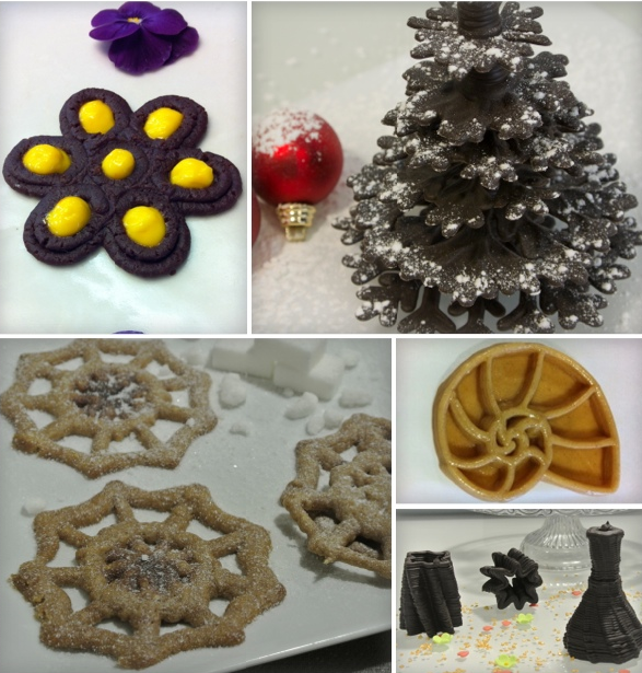"Create playful themed ""sweet"" prints, such as Halloween spiderweb cookies, chocolate christmas trees, chocolate vases, shell cookies..."