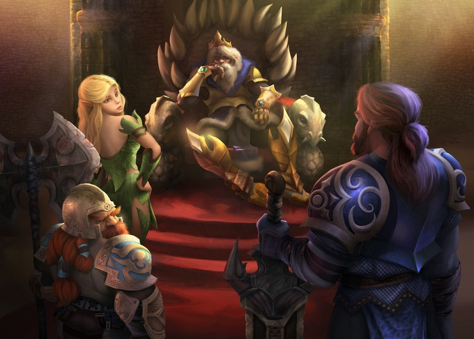 A party of heroes at audience with a wise ruler. Art by Will Fenholt