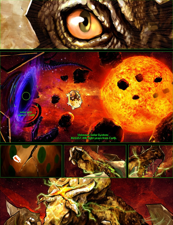 A page from the alternate timeline of chapter 1 featuring the hatching of Dinostar