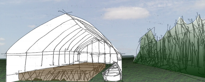 The shiitake fruiting house will look something like this!