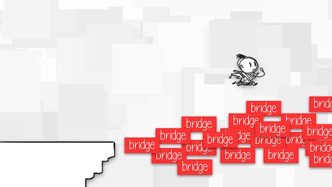 mock-up: viewers help create a bridge via their speech bubbles