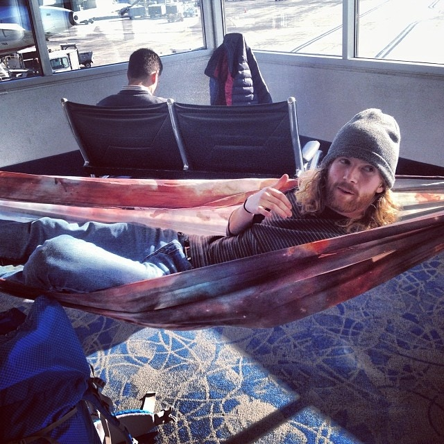 Tired of waiting at the airport?  Hang your hammock up! (Not liable for how the TSA may react)