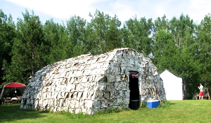 Russell's birch bark longhouse - used as a bunk house as well as for storing of herbs and other therapeutic tools