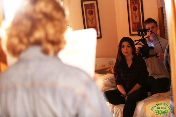 DP Jake Horgan setting up the shot with stars Heather Matarazzo and Kristine Sutherland