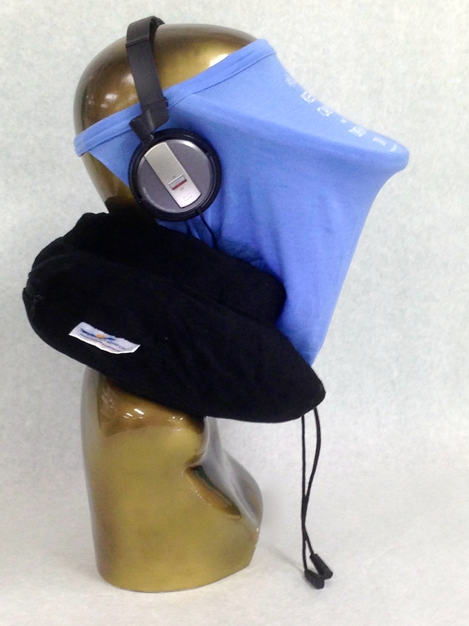 It works great with your favorite headphones and neck pillow.