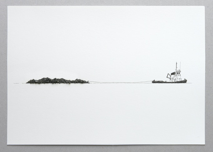 NEW REWARD Tug and island print with unique Arctic dust. Unframed.