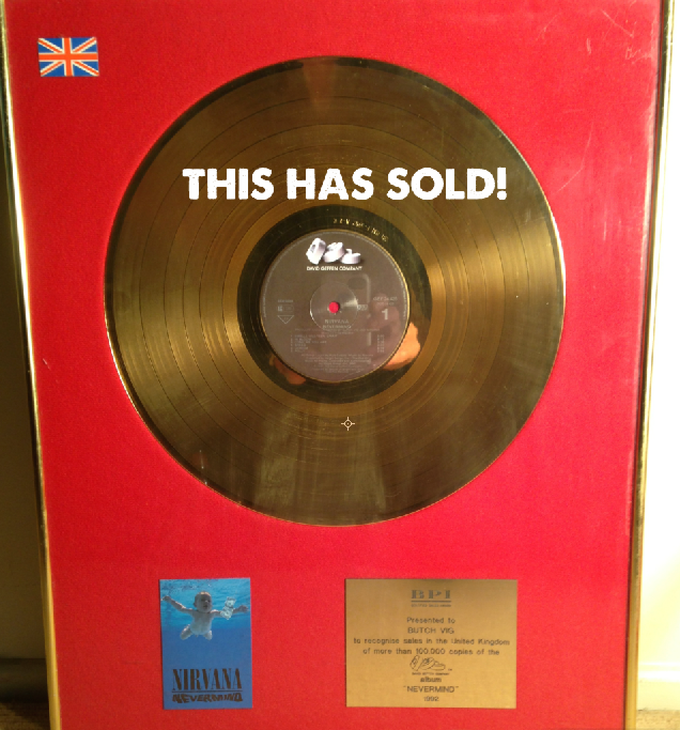 Nirvana Nevermind GOLD RECORD presented to B. Vig 1992 w/small cover image
