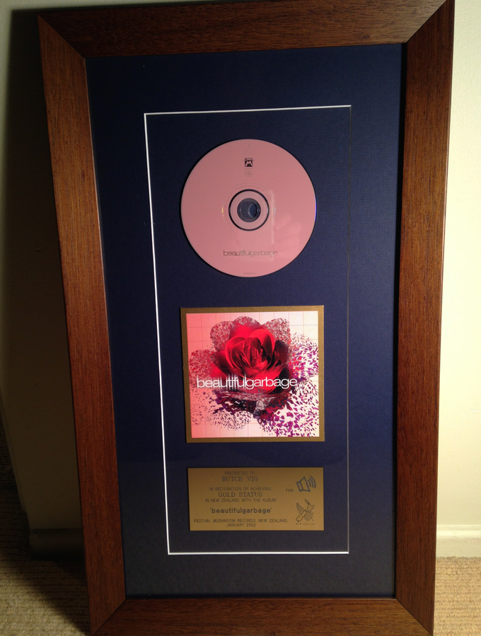 "GARBAGE - ""Beautiful Garbage"" Gold Record presented to Butch in 2002 - WOOD FRAME"
