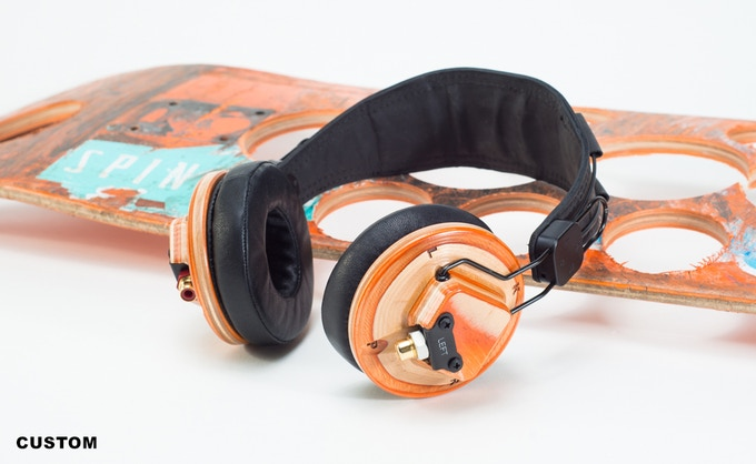 Custom ear cups made from your own skateboard! Brown headband or matte-black leather. Red, clear or black anodized hardware with black or gold-plated fasteners. You choose!