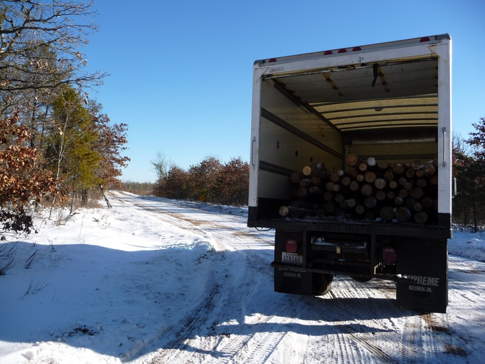 Picking up our sustainably harvested logs