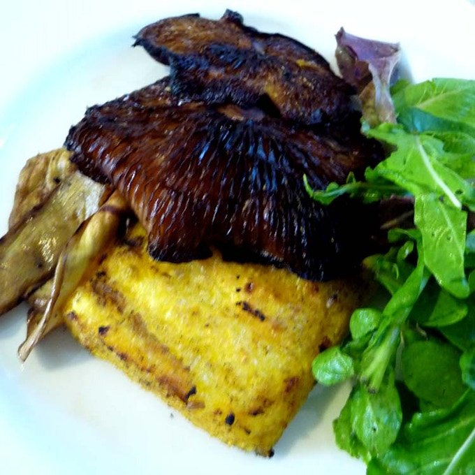 Marinated and grilled shiitake with polenta, eggplant and greens