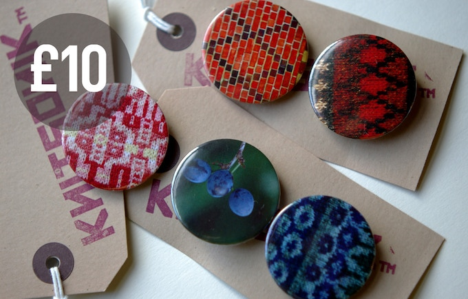 "For £10 you get the ""thank you"" reward above, plus a limited pair of button badges made here in the KNITSONIK studio. Each pair feature images of an original source inspiration for the book plus its knitted interpretation."