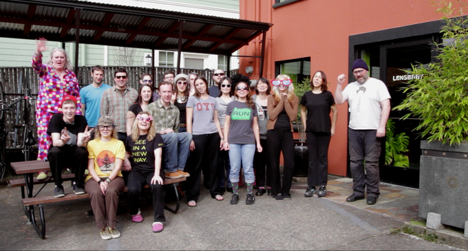 Lensbaby employees outside our headquarters in Portland, Oregon.