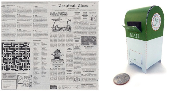 """""""The Small Times"""" is a fictional newspaper edition in miniature. There's even a crossword puzzle that works! The tiny mailbox is easy and quick to make."""