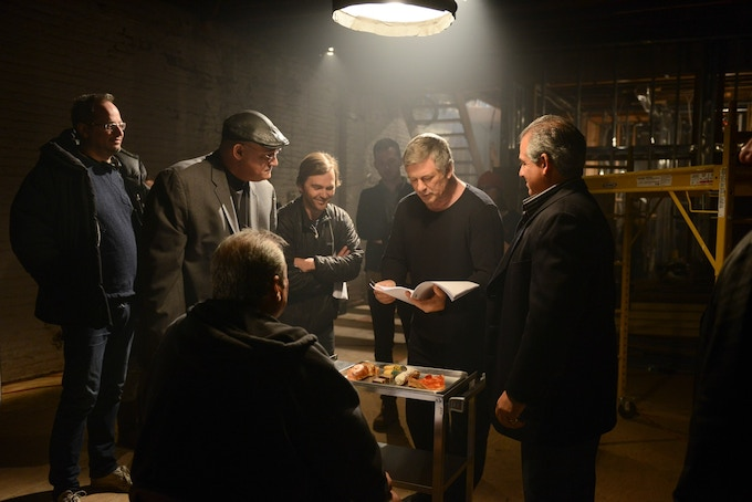 From left: Jim Canty, Wayne Soares, Neil Parisi (foreground), Chris Fondulas, Alec Baldwin and Matt Garafalo on the set of day one of The Curse of Don Scarducci. [Photo credit: Ali Goldstein]