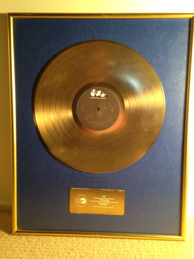 NIRVANA NEVERMIND GOLD RECORD!