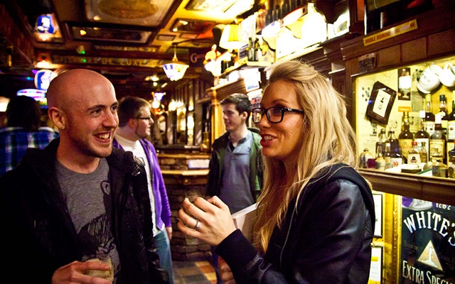 Jonny Campbell (Brewbot) and Sarah Parmenter (You Know Who) enjoy a post talk pint.