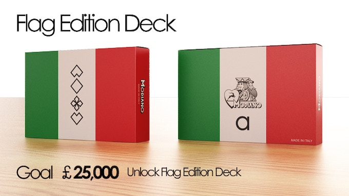 The limited edition deck, this custom designed box exactly reflects the colours of the Italian flag. Green: R:0 G:146 G:70   White: R:241 G:242 B:241   Red: R:206 G:43 B:55