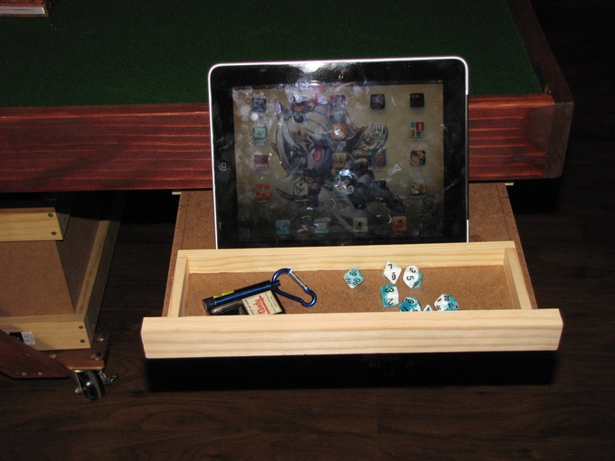 Open drawer with IPad