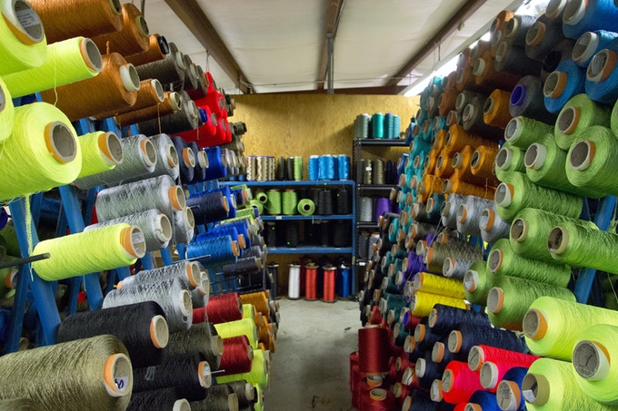 Spools of nylon thread used in climbing rope at the BlueWater factory here in GA.
