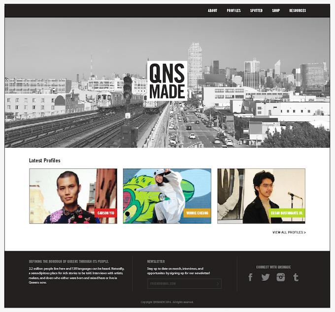 Mock up of website's landing page