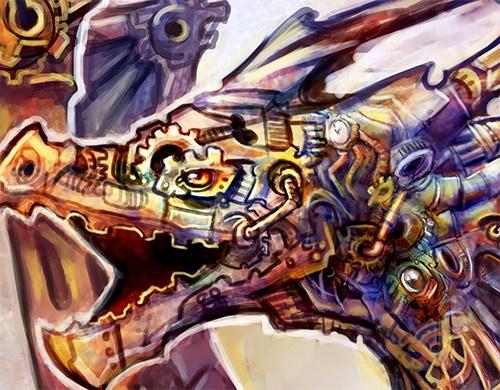 Detail of clockwork dragon artwork
