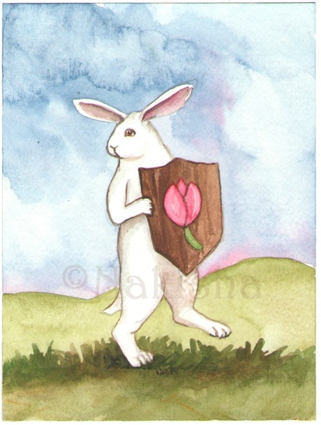 Page of Tulips from the Rabbit Tarot