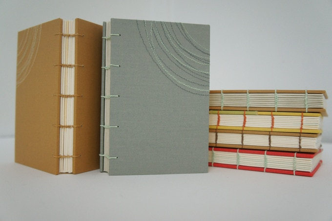 UPDATE! I'm adding some small hand-made blank books as rewards. They'll look something like this.
