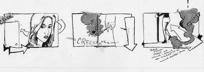 Storyboards drawn by Jeremy Hale Bronaugh