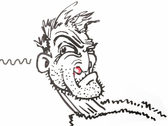 Artist's Impression - Bloody nosed, Dean listens to identify the source of the nocturnal sounds. Is it in his flat, next door, or just in his mind?