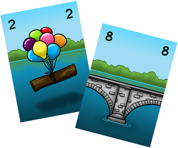 The higher the card value, the more sturdy the bridge section!