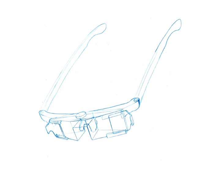 Early 3D glasses sketch leading to hand made prototypes