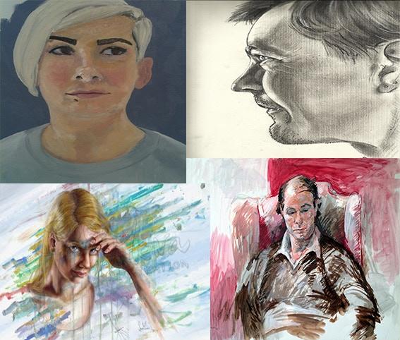 Top Left: Amy by Diana Probst; Top Right: Self-Portrait by Ryan Atkins; Bottom Left: Head Study by Sara Mena; Bottom Right: Raymond Bentley, David, Market Gardener