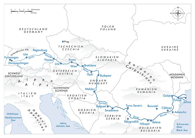 A map of our route along the Danube River.