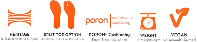 Our award-winning tech-bands create incredible lateral stability. PORON Performance Cushioning Foam reduces impact 2X as effective as traditional insoles foams. And YES! Our shoes are Vegan.