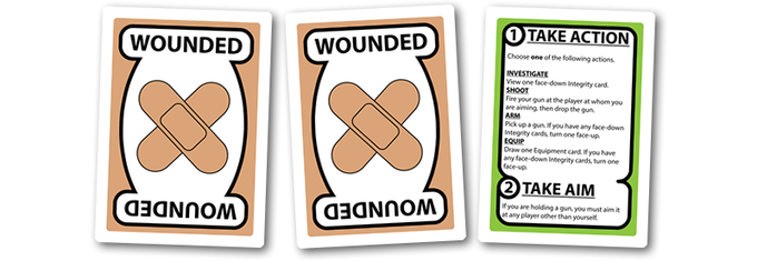 Two Wounded cards help players know which leaders have been shot. The Lead Investigator card acts as a quick reference card and is given to each player on their turn. If you back at the LEAD INVESTIGATOR reward level and your silhouette will appear on it.
