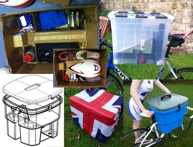 The evolution of Triathlonbox, from drain pipes and plastic boxes, through to more detailed cardboard designs - through to a full working prototype