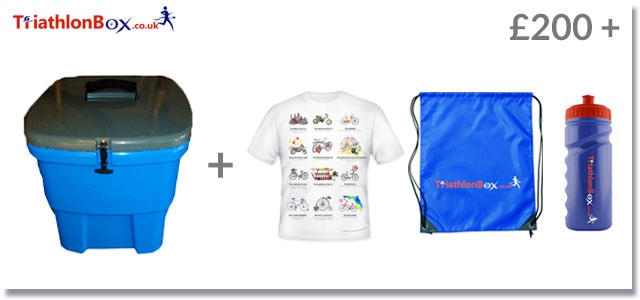 Triathlonbox with all the internal sections plus limited edition British designed T-shirt and quality British made drawstring bag and water bottle