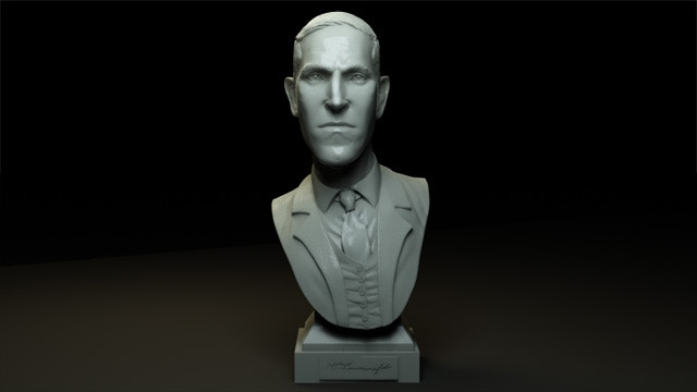 H P Lovecraft Miniature Marble Bust Sculpture By Ars