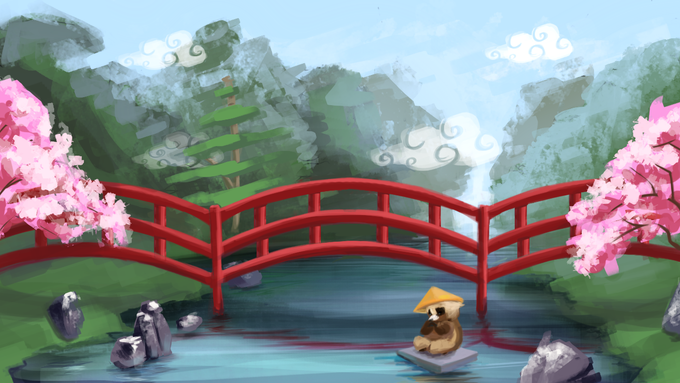 In Sakura Gardens, players get a pretty view of the surrounding cherry blossoms while being pitted against more organic obstacles. In most cases, running on water will save you time, but you'll need a boost to get by without sinking!