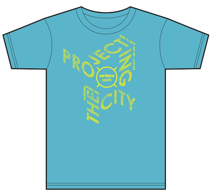 "$25 - GEAR UP / Northern Spark 2014 T-shirt, plus one official ""Sparker"". Both are original designs by award-winning designer Matthew Rezac. T-shirt color is an approximation."