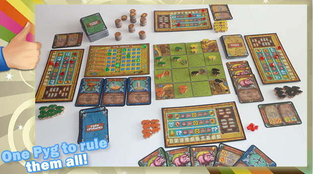Prototype photo: Pyg Farmer is a unique game to add to your game collection that includes a ton of components including wooden pyg meeples!